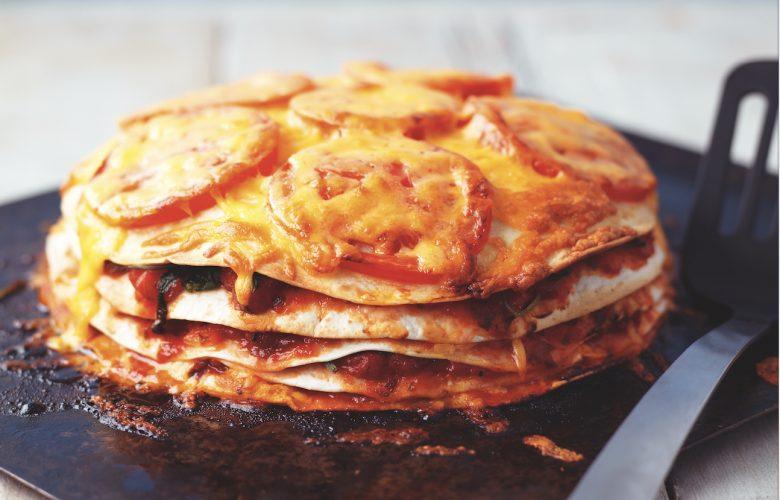 Double Gloucester and Tomato Tortilla Bake